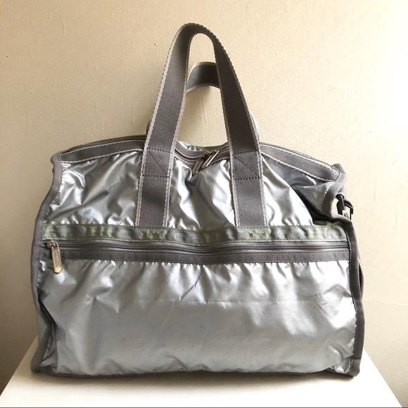 Lesportsac Handbags - LeSportsac Silver Metallic Duffle Gym Bag - Medium 4c7659abb7b33